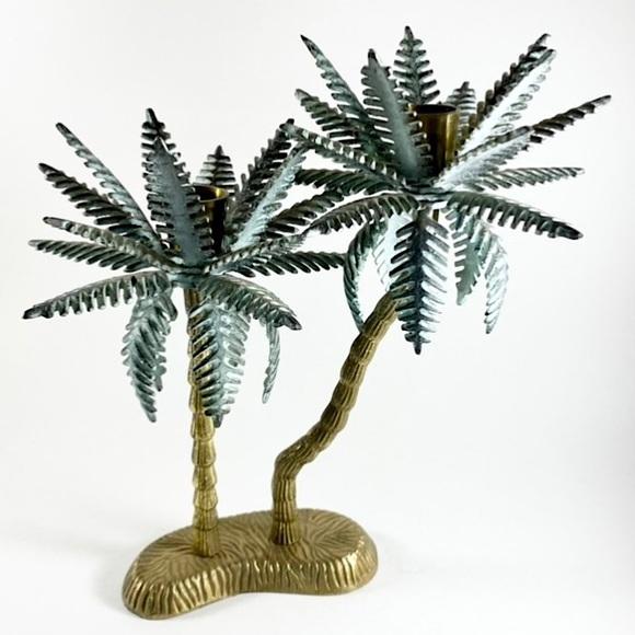 Vintage brass double palm tree candlestick holder